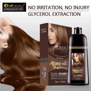 500ml Natural Argan Oil Essence Instant Hair Dye Shampoo Instant Hair Color Cream Cover Permanent Hair 1 Beauty-Health Mega Shop